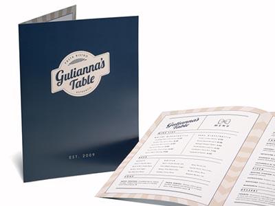 menus dípticos en folletos plegados